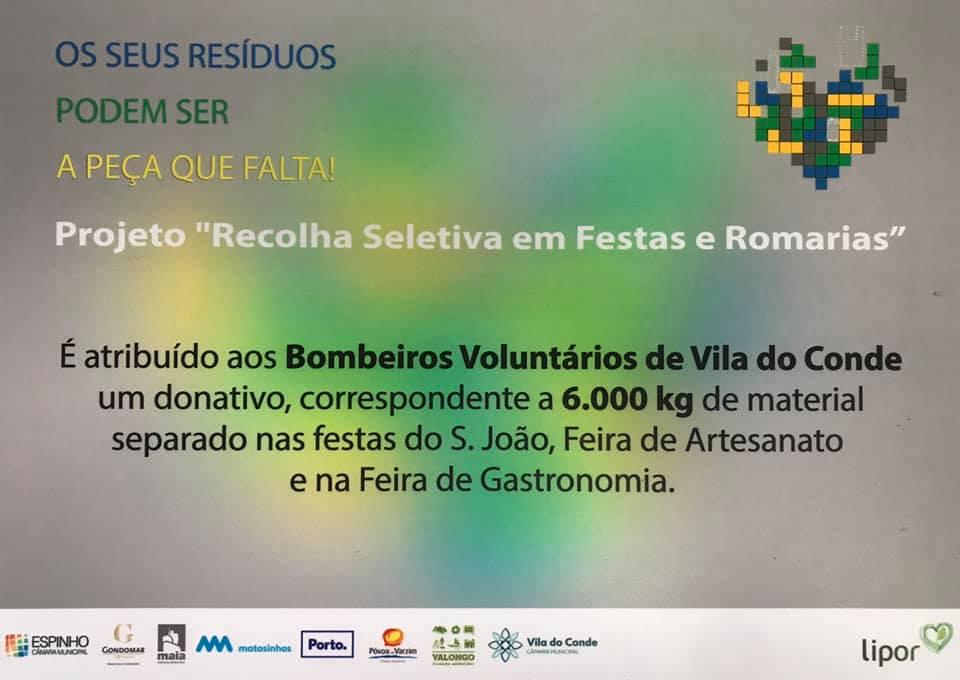 73148068 2698105420250084 6740532995876192256 n 1 - Os resíduos separados nas festas reverteram em equipamentos de Proteção Individual para os Bombeiros Voluntários de Vila do Conde.